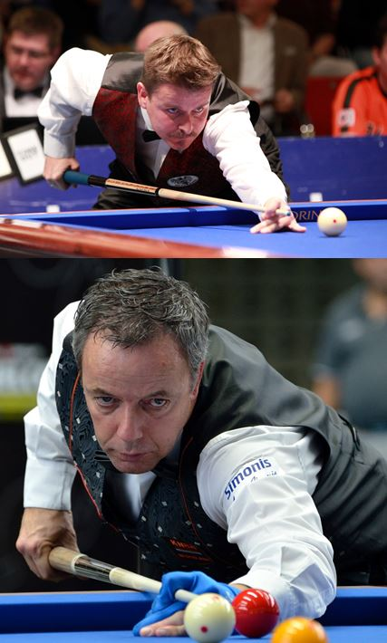 Andreas Efler (oben) gegen Dick Jaspers lautet die Top-Paarung zum Dreibnand Bundesliga Auftakt - Fotos (c) Kozoom, E. Mevissen